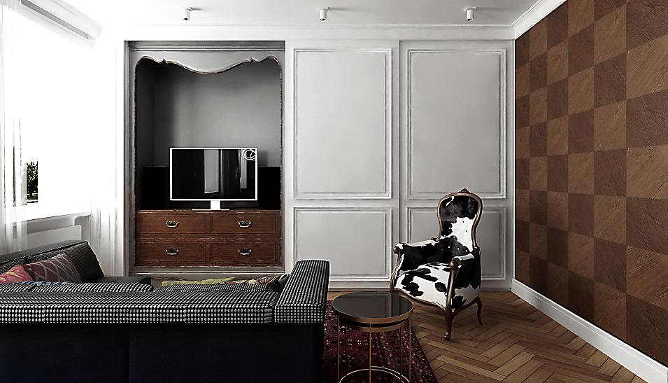 Salon w eklektycznym mieszkaniu