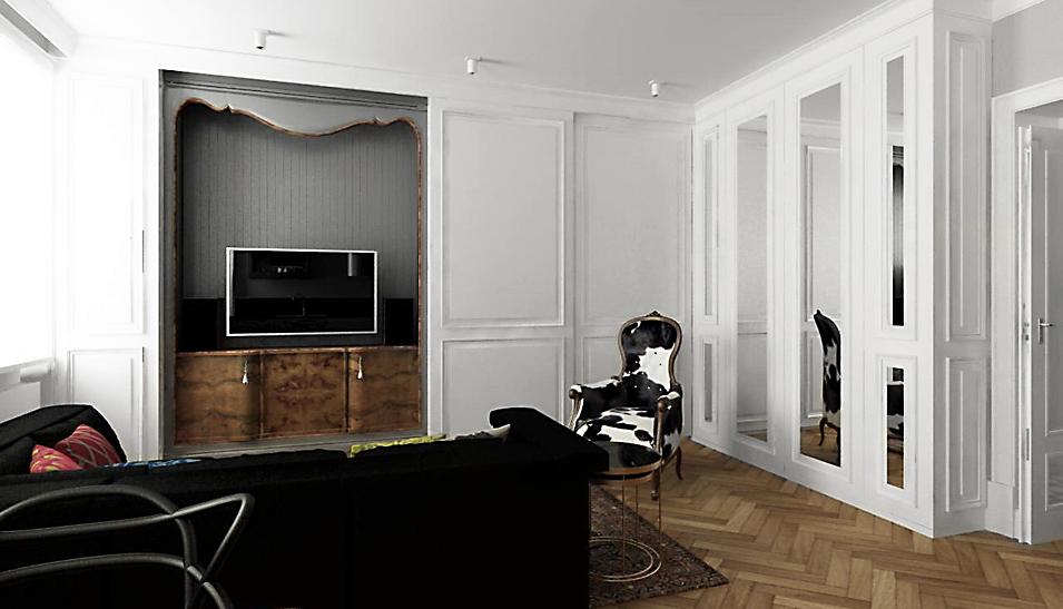 Wnętrza salonu w eklektycznym mieszkaniu