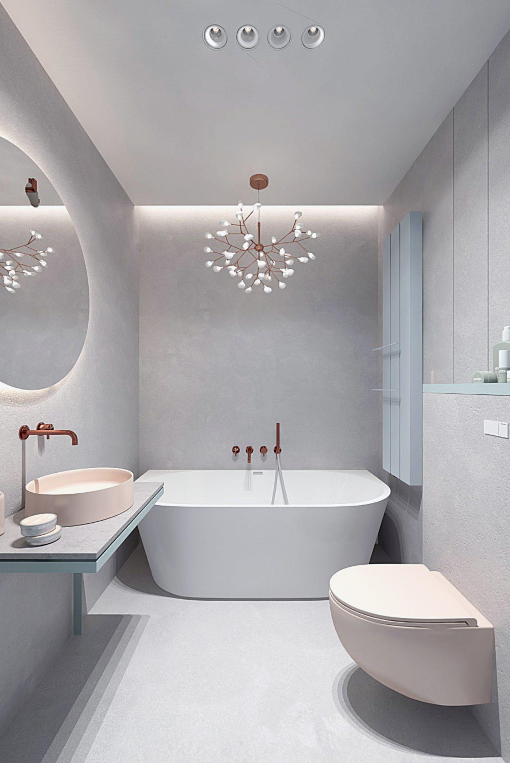 Minimalistyczna łazienka - Projekt stworzony przez architektów wnętrz z Krakowa.