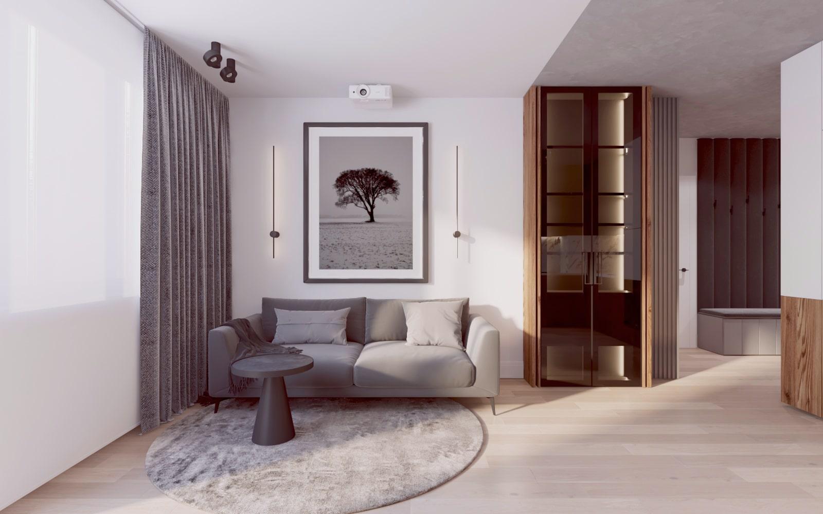 Nowoczesny mini salon - Projekt wykonany przez architekta wnętrz.