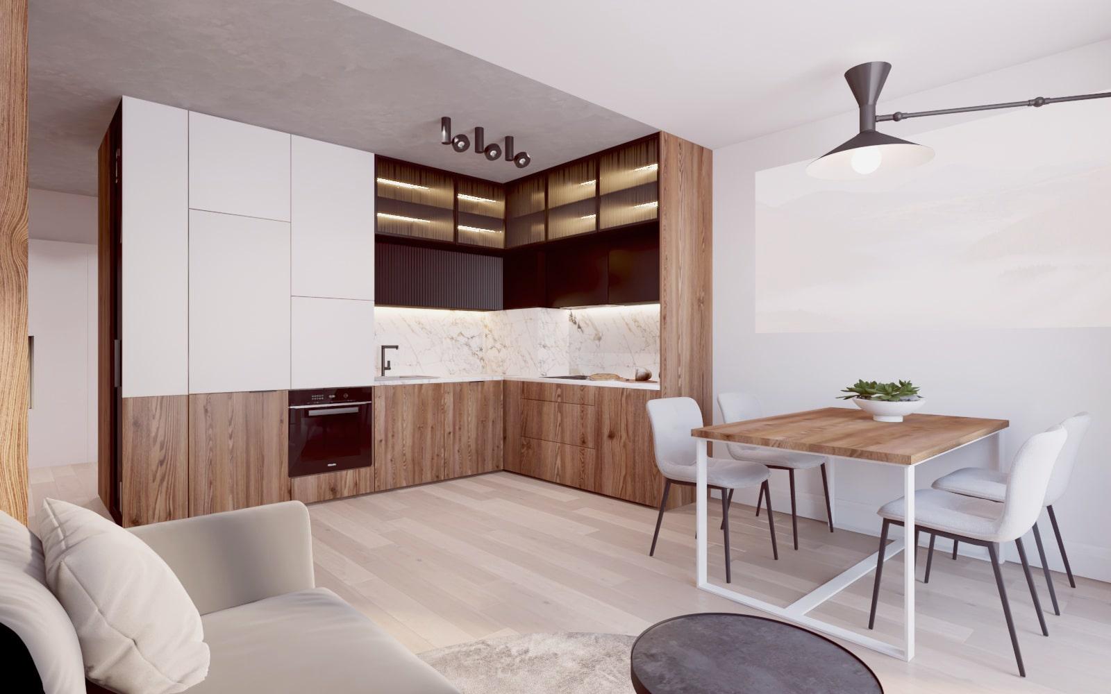 Połączenie kuchni i salonu - modernistyczny projekt wykonany przez architektów wnętrz z Krakowa.
