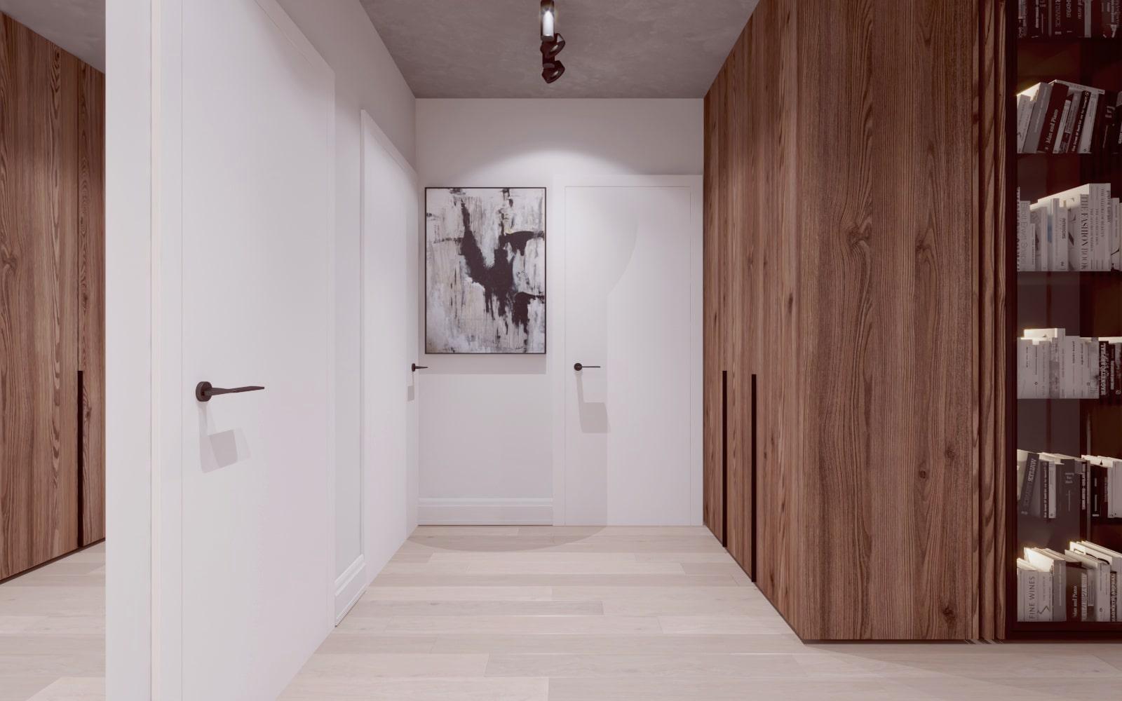 Przedpokój z elementami drewna - Projekt wykonany przez projektanta wnętrz z Krakowa.