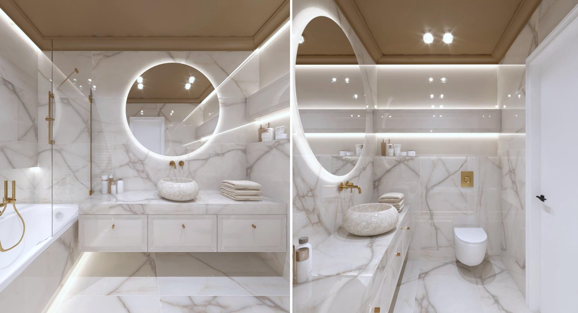 Projekt marmurowej łazienki zaprojektowany przez projektantów wnętrz z Krakowa.