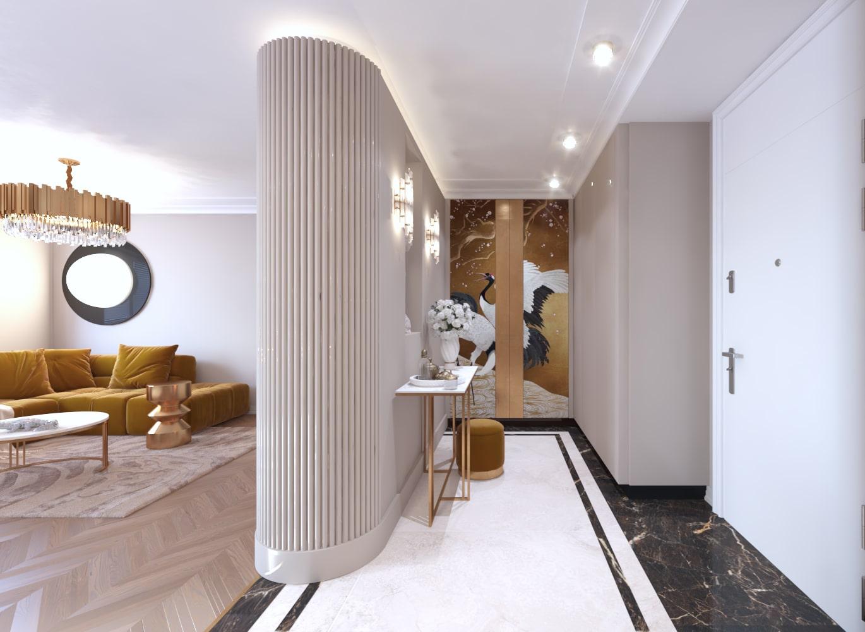 Projekt architektów z Krakowa nowoczesnego wnętrza mieszkania.