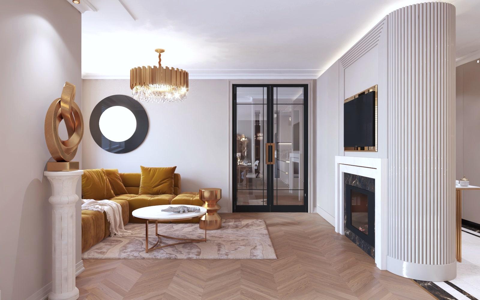 Minimalistyczny i nowoczesny salon zaprojektowanych przez projektantów z Krakowa.