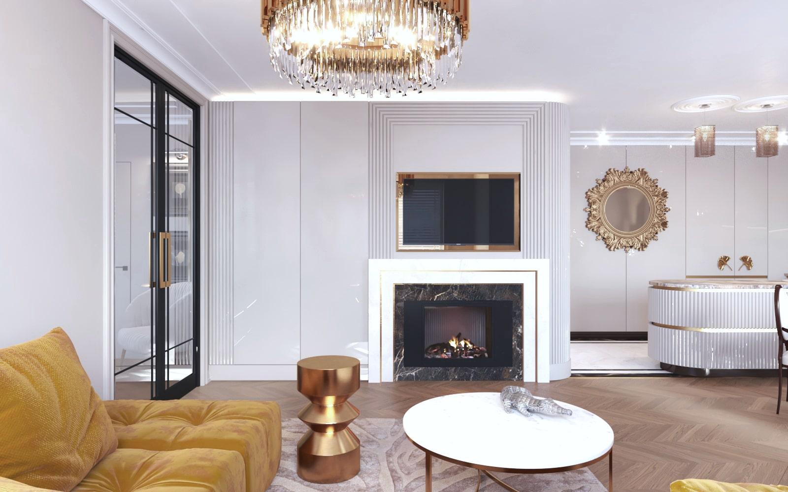 Projekt stylowego i zarazem nowoczesnego salonu wykonanego przez projektantów wnętrz z Krakowa.