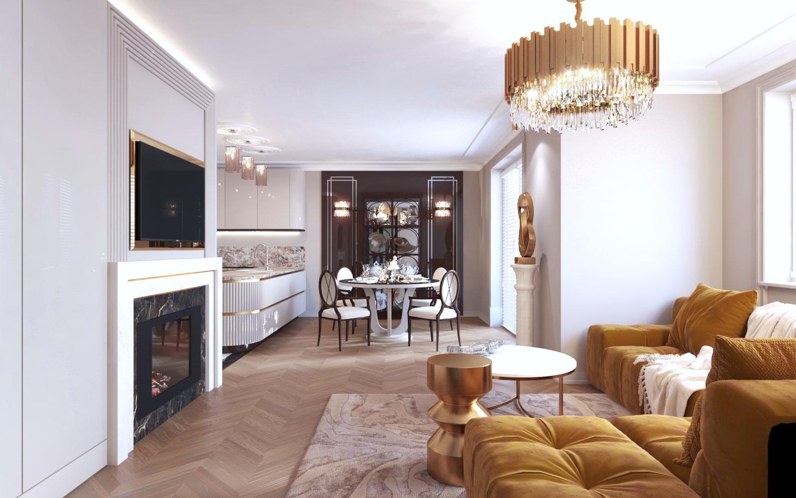 Salon połączony z kuchnią - Projekt wnętrza wykonany przez architektów z Krakowa.