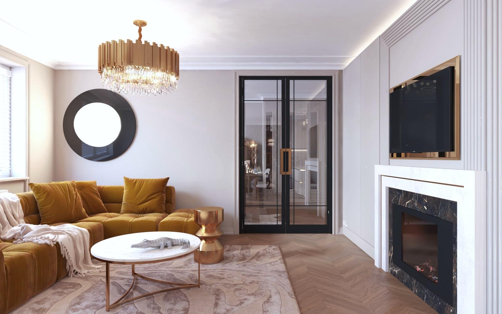 Stylowy projekt salonu, który został wykonany przez projektanta wnętrz z Krakowa.