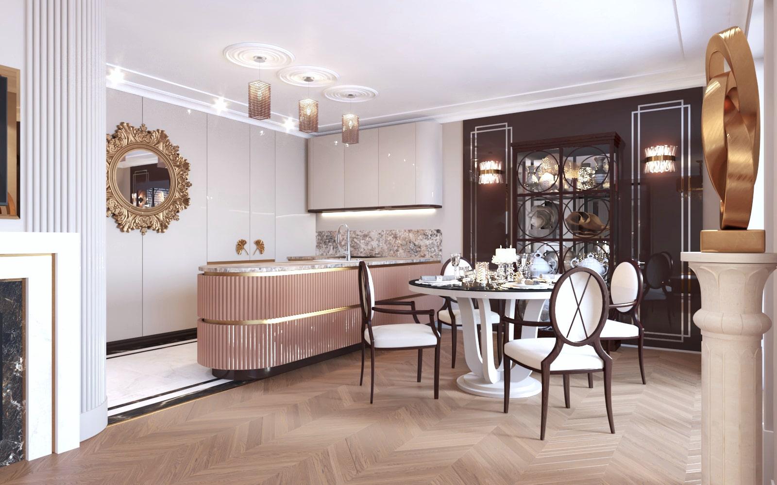 Projekt kuchni wykonany przez projektantów wnętrz z Krakowa.