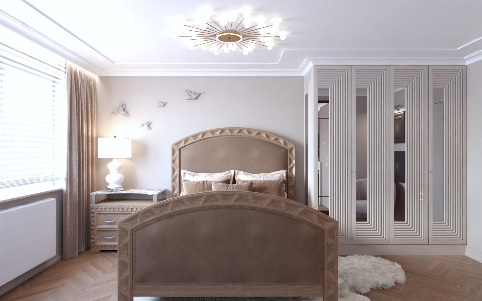Wnętrze sypialni, która została zaprojektowana przez architektów wnętrz z Krakowa.