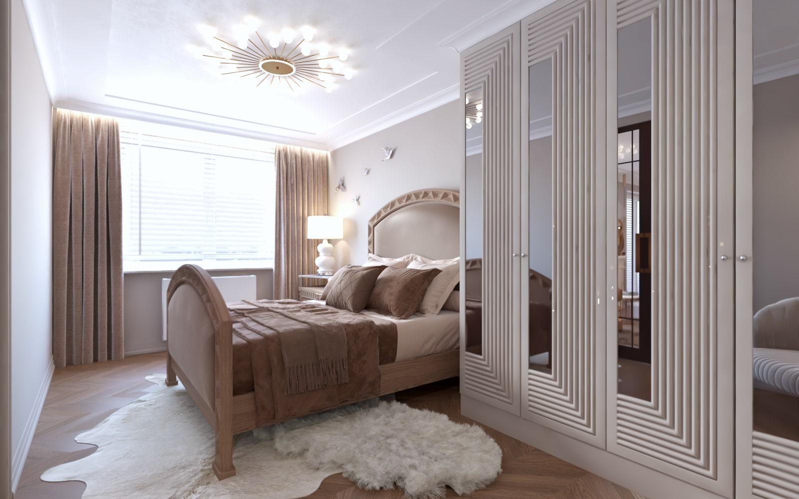 Sypialnia zaprojektowana przez projektantów wnętrz z Krakowa.