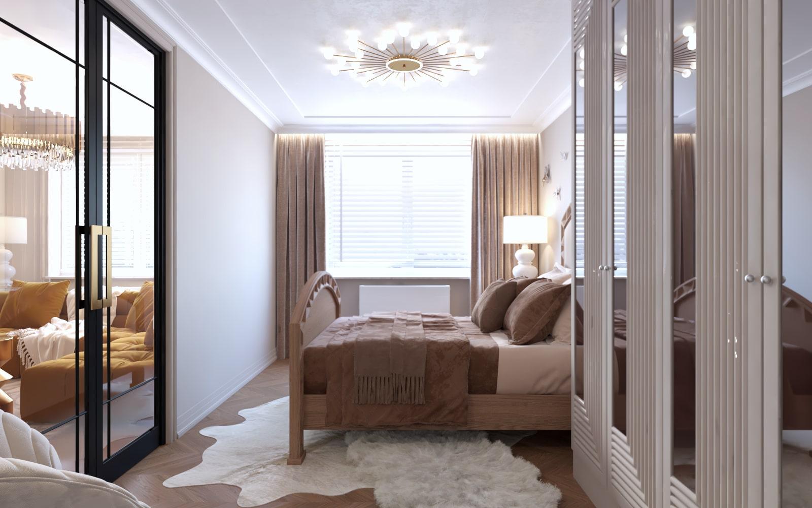 Projekt sypialni zaprojektowanej przez architektów wnętrz z Krakowa
